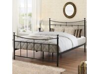 BRAND NEW 'Nolan Metal Bed Frame' - Double Bed - Black INCLUDING Mattress GBP 150