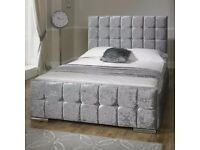 luxury crush velvet diamond cube bed double or king size silver cream or black best in glasgow