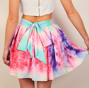 **BRAND NEW** Multi Color Girly Galaxy Flared Skirt