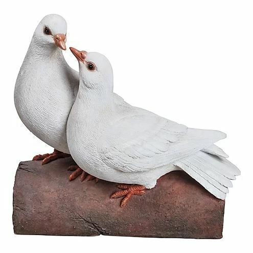 "8.6"" DOUBLE DOVES ON LOG FIGURINE LIFELIKE DOVE HOME AND GARDEN DECOR"