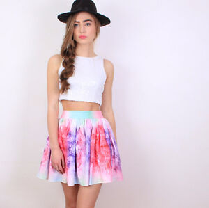**BRAND NEW** Multi Color Girly Galaxy Flared Skirt Cambridge Kitchener Area image 2