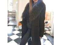 Karen Millen Size 10 Olive Coat Jacket Mongolian Fur Collar