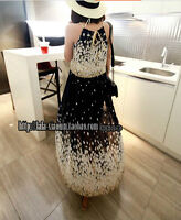 spring and summer bohemian silk chiffon lace floral dress