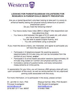 Invitation to Participate in a Parent-Preschooler Obesity Study