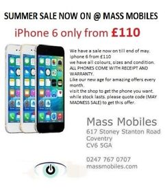 i phone 6 unlocked to all network available in all colours