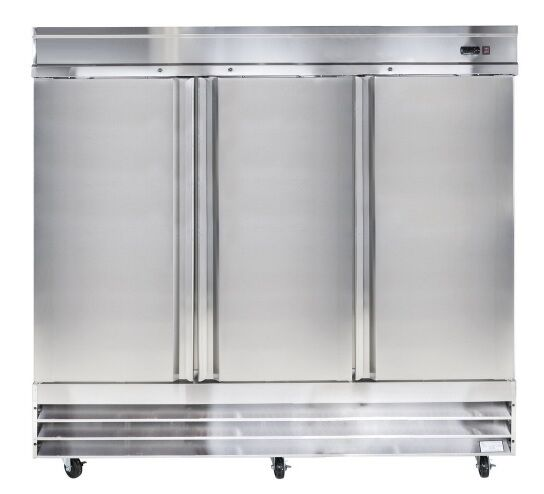 "Universal Usdf81 81"" Three Section Solid Door Reach In Freezer - 72 Cu. Ft."