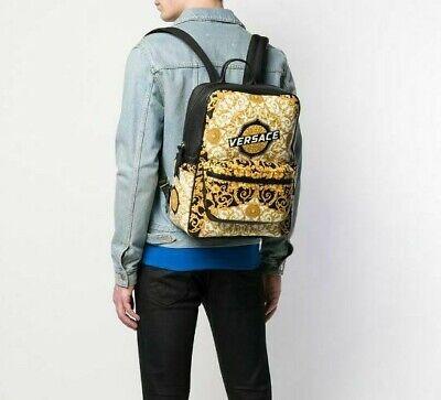 Versace Baroque Print Backpack Leather Greca Medusa Gold White Black