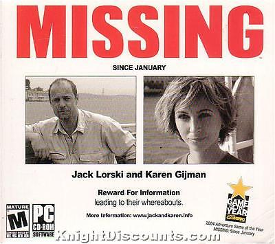 MISSING Since January - US Vers. of In Memoriam -Vintage Adventure PC Game WinXP