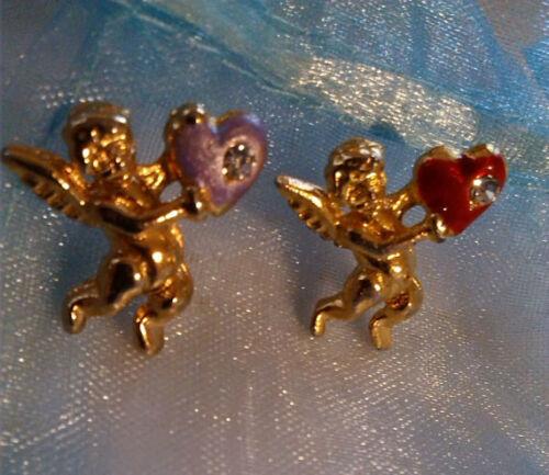 Set 2 Gold Tone Guardian Angel Enamel Red & Purple Heart w/ Rhinestones Pins