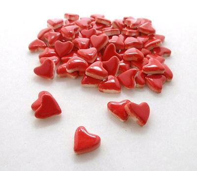 (Mosaic Tiles - Red Hearts Valentine Day handmade Ceramic Tiles )
