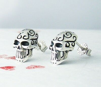 Skull Earrings Sterling Silver Halloween Unique Funny Gift Idea Celtic Patterns ](Funny Female Halloween Ideas)