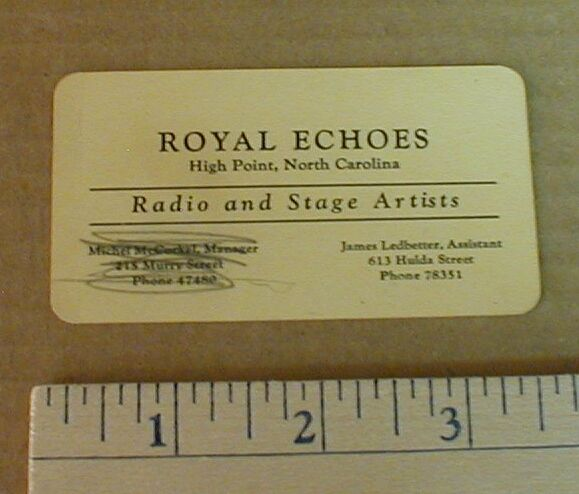 1950s Royal Echoes Gospel Band Quartet Radio Artists Business Card High Point NC