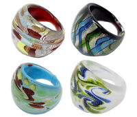 Mixed Multicolour Foil Lampwork Glass Ring