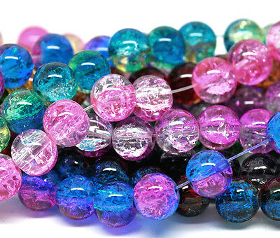 50 x 8mm - Mixed Dual Colour Crackle Glass Craft Jewellery Beads - B12234
