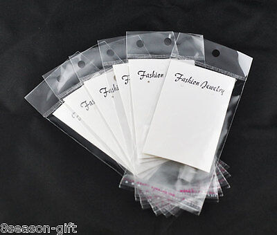 100 White Earring Display Cards Wself Adhesive Bags