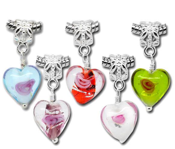 20 Mixed Dangle Beads Glass Heart Fit Charm Bracelet
