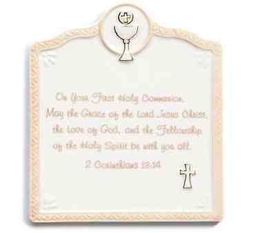 First Holy Communion Porcelain - First Holy Communion Wall Plaque Nat & Jules Demdaco porcelain Spring  # N00113