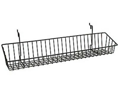 Wire Shelf Slatwall Grid Pegboard Panel Display 23wx4dx3h Black Lot Of 2 New