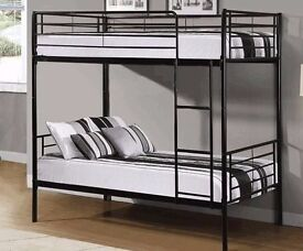 ??Solid Grill Base?? Brand New Single Convertible Metal Bunk Bed+9&Thick Deep Quilt Mattresses