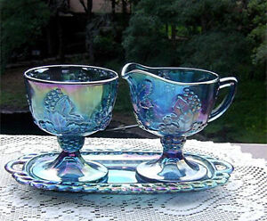 Harvest Blue Carnival Creamer, Sugar and matching Tray