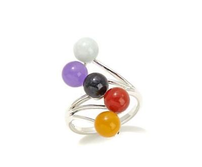 Jade of Yesteryear Colors of jade Sterling Silver Bypass Wave Ring Size 8