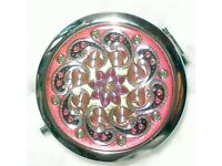 Pink and Black Pattern Compact Make-up Mirror 70 mm Chrome