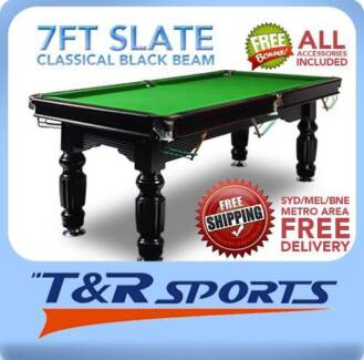 7FT SLATE SOLID TIMBER BILLIARDS / POOL TABLE FULL ACCESSORIES Northmead Parramatta Area Preview