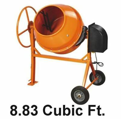 Cement Mixer Concrete 8.83 Cu Ft Electric 1.38 Hp Motor 270 Lb Wtri Stand