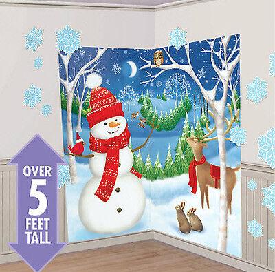 WINTER WONDERLAND Scene Setter Christmas party wall decor 32pc snowman reindeer ()