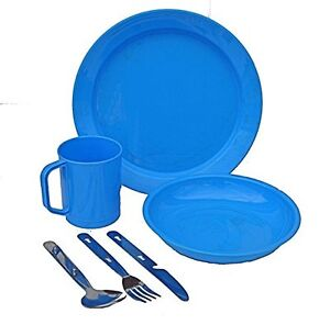 Camping Cutlery Set Plastic Mug Plate Bowl KFS Knife Fork Spoon - Blue