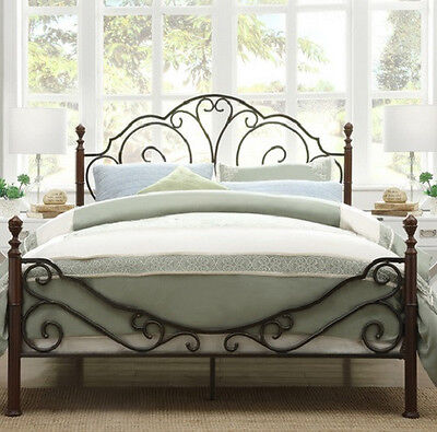 Queen Size Poster Bed - Bronze Metal and Cherry Finish - Beautiful & SHIPS FREE
