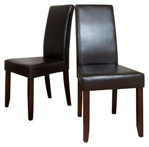 Simpli Home  Parson Chairs Dark Brow faux leather (Brand new)