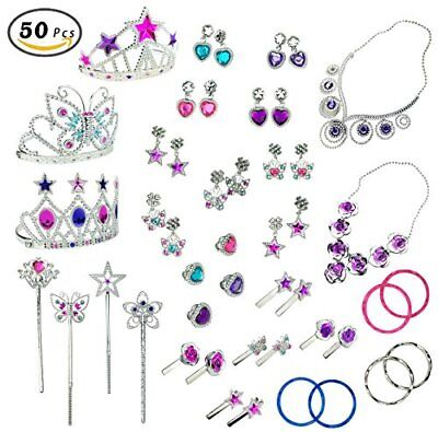 50 PCS Princess Jewelry Dress Up Accessories Toy Playset for Kid Girls](Childrens Dress Up Accessories)