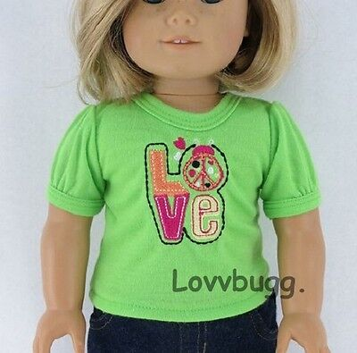 "Lovvbugg Love T Shirt Green Clothes for 18"" American Girl Doll Clothes"