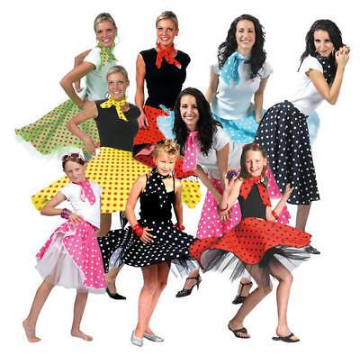 1950s Polka Dot Skirt Ladies Girls Fancy Dress 50's Rock n Roll Fifties - Fifties Girl Kostüm
