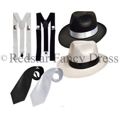 Luxus Erwachsene Gangster 1920er Fancy Dress Al Capone Trilby Spats - Gangster Fancy Dress Kostüm