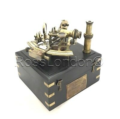 Antique-Finish Brass Navigation Sextant with one extra Telescope in Wooden Box