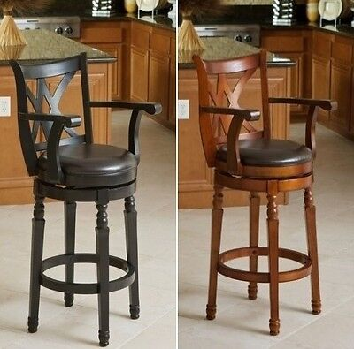 Cherry / Black Swivel Barstools Bar Stools Kitchen Chair Leather Barstool (Cherry Kitchen Bar Stool)