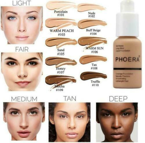 Phoera Foundation Makeup Full Coverage Liquid Base Brighten
