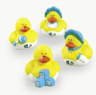 NEW LOT OF 12 BABY BOY SHOWER THEMED MINI RUBBER DUCKS ](Rubber Duck Themed Baby Shower)