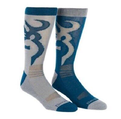 Browning Buckmark NAVY / GRAY Crew LARGE Socks Shoe Size Men's 9-13 *2 PACK* 2 Pack Navy Crew Sock