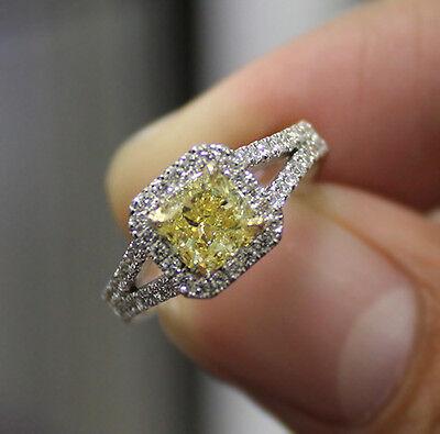 2.90 Ct. Cushion Cut Split Shank Halo Pave Diamond Engagement Ring GIA Certified 3