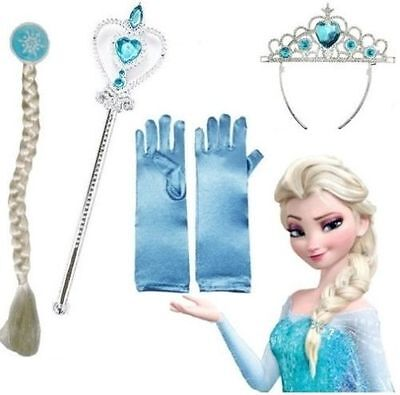 Girl Frozen Anna Elsa Tiara Crown Wig Magic Wand Gloves Hair Accessories Cosplay - Anna Crown Frozen