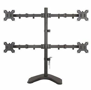 """Quad Monitor Mount Fully Adjustable Desk Free Stand for 4 LCD Screens up to 24"""""""