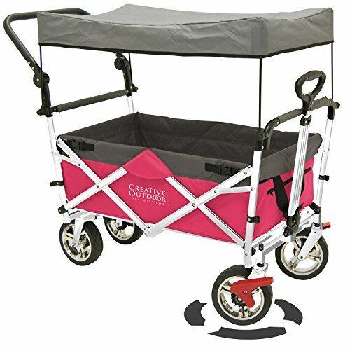 Creative Outdoor Push Pull Folding Wagon Pink