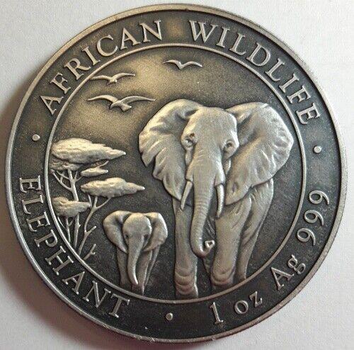 2015 Somalia 100 SHILLINGS ELEPHANT ANTIQUE FINISH .999 SILVER BU NICE!!!! A+++