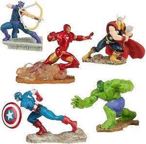 AVENGERS Figure Set MARVEL DISNEY PVC TOY Cake Topper IRON MAN Hulk THOR Hawkeye