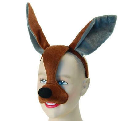 Kangaroo Face Mask & Sound Animal Fancy Dress Costume Outfit New