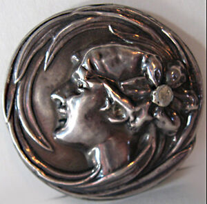 Antique-VICTORIAN-Sterling-Silver-Repousse-LADY-FACE-Floral-Pin