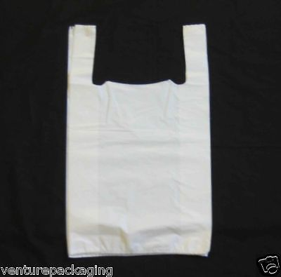 1000 x Large White Plastic Vest Carrier Bags (11x17x21)